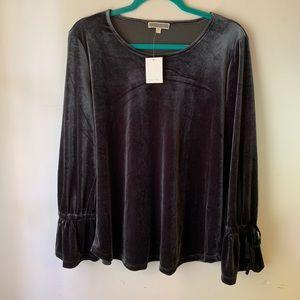 Pleione velvet bell sleeve shirt